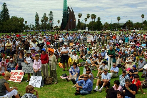 People protesting against the development on The Reserve in 2012