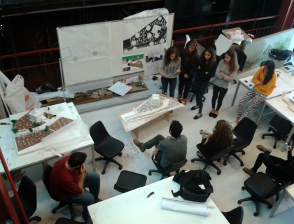 Students at work, Faculty of Architecture, Bilgi University.