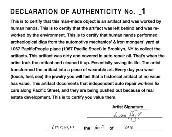 Declaration of Authenticity provided by the artist with the Historical Artifacts—signed and numbered by the artist.